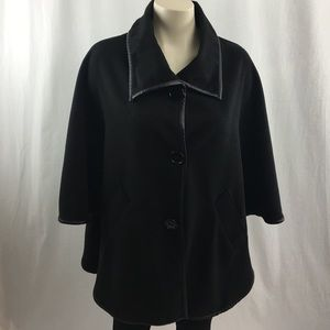 Dale Dressin Black Wool Front Button Up Cape S